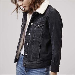 Topshop Denim Moto Shearling Boyfriend Jacket US 8